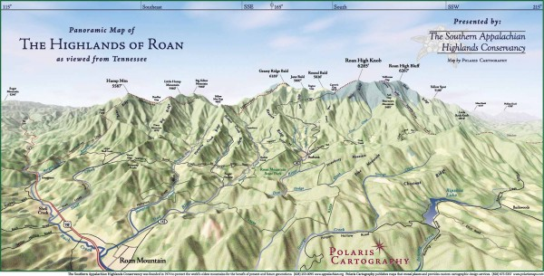 Panoramic Map of the Highlands of Roan (from TN)