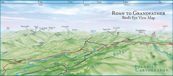 Panoramic View of Roan to Grandfather Map