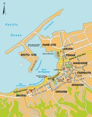 Papeete city Map