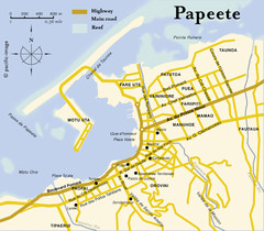 Papeete map ( on Tahiti )