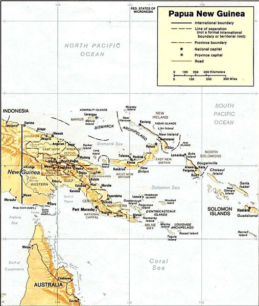 Papua New Guinea topographic Map
