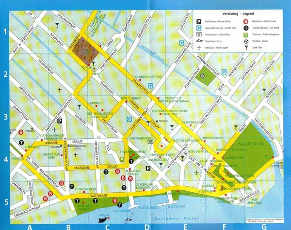 Paramaribo Suriname Tourist Map