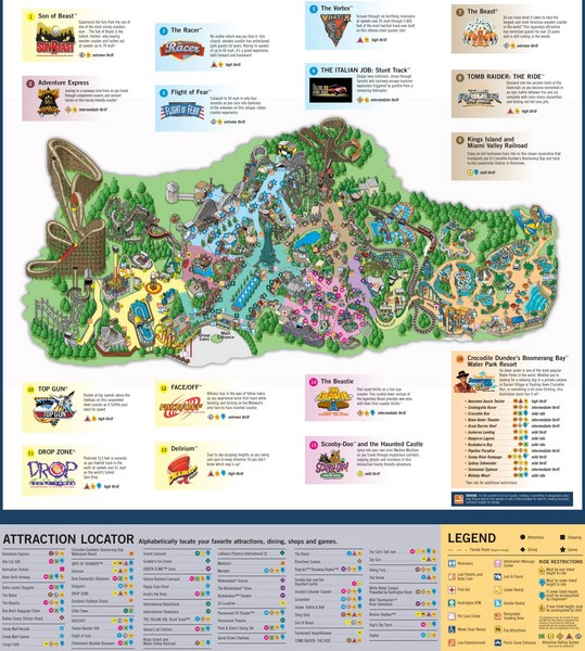 Kings Island Map on new york city new jersey map, wild river country map, apostle islands map, carowinds map, north island naval base map, islands of adventure map, canada's wonderland map, kiddieland map, paramount park map, disney's blizzard beach map, coney island fun map, westbury new york map, beach waterpark map, six flags map, cincinnati map, cedar point map, oaks amusement park map, michigan adventure map, long island satellite map, disneyland map,