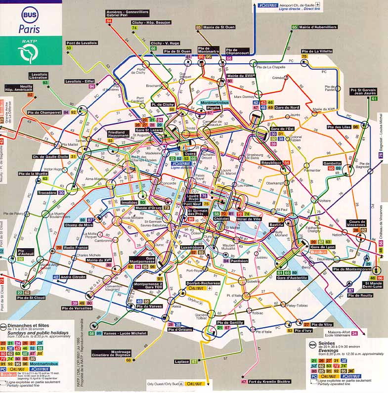 paris bus map paris mappery. Black Bedroom Furniture Sets. Home Design Ideas