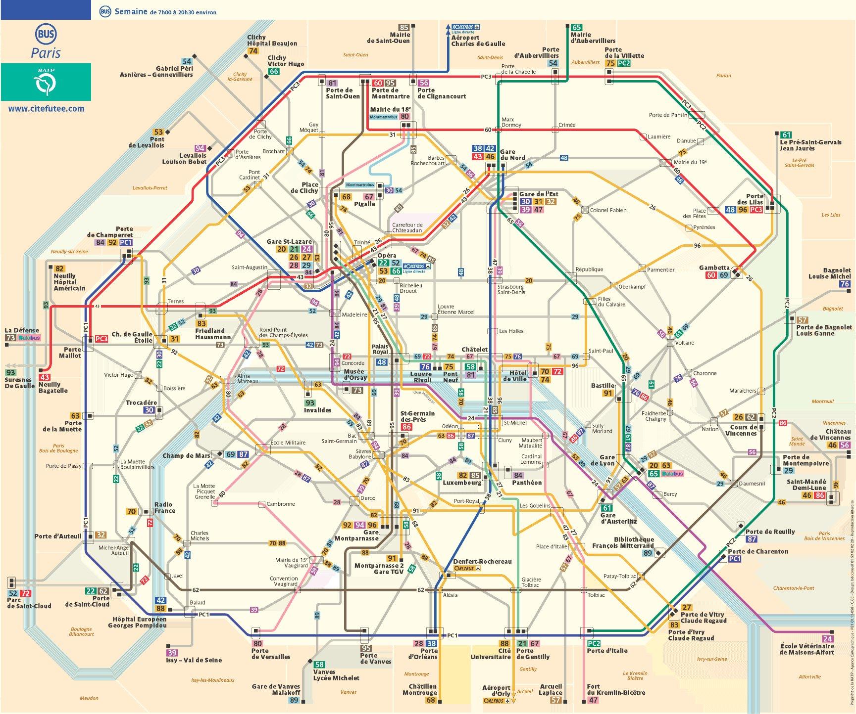 paris bus route map french paris france mappery