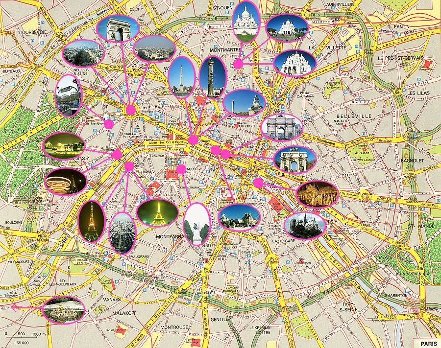 Paris france tourist map see map details from www paris touristguide