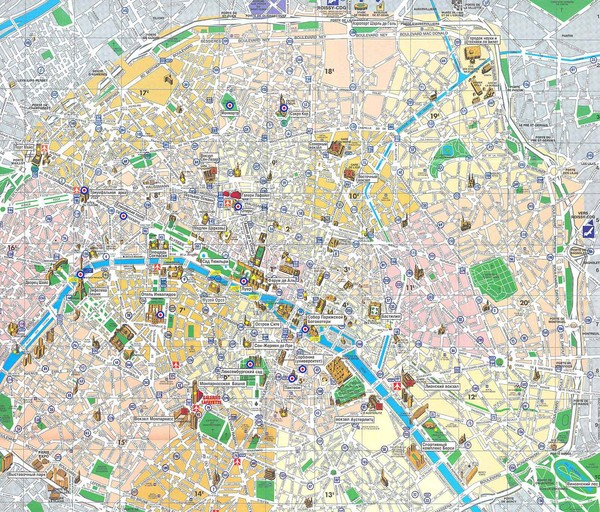 Paris maps mappery – Map of Paris Arrondissements with Attractions