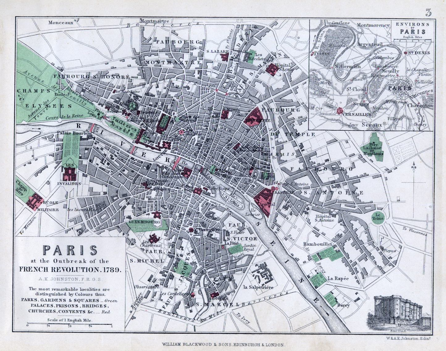 Карта Парижа в 1789 году. Важные локации выделены красным цветом. Бастилия - там, где самый большой многоугольник справа.