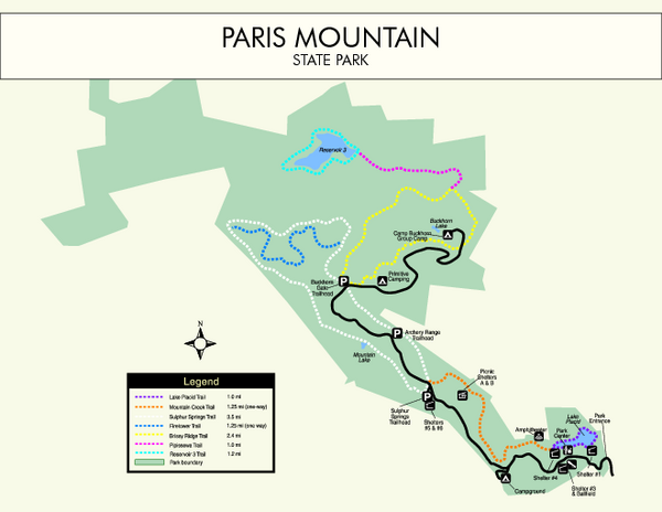 Paris Mountain State Park Map Paris Mountain State Park SC USA - Parris map