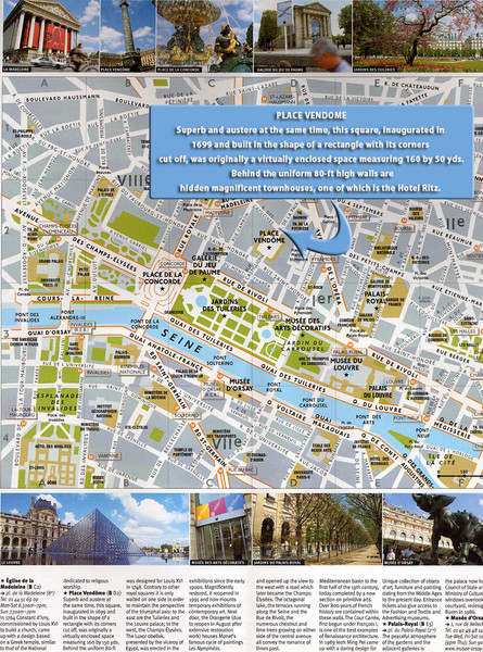 paris mapa. paris map with attractions.