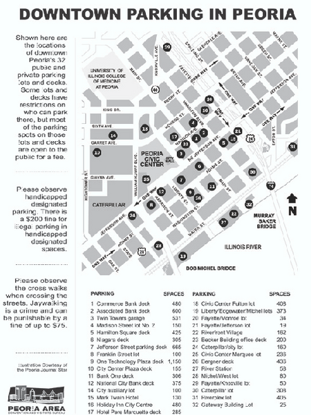 Parking in Downtown Peoria, Illinois Map