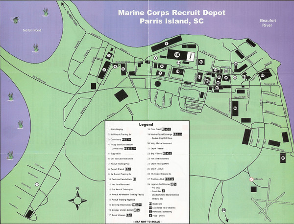 Parris Island Marine Corps Recruit Depot Map Parris Island South