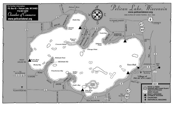 Pelican Lake Map - Pelican Lake Wisconsin • mappery