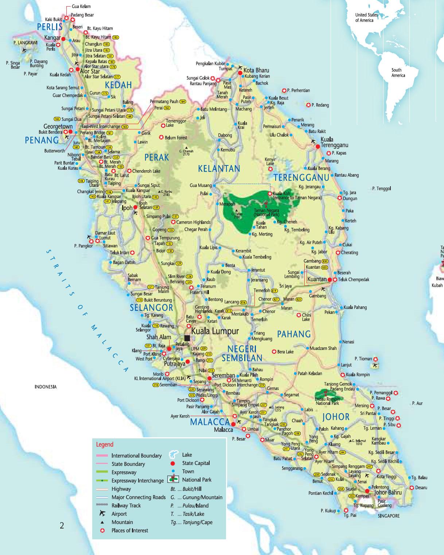 Peninsular Malaysia Tourist Map Malaysia Mappery - Malaysia map