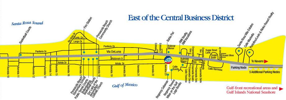 Pensacola Beach Tourist Map Pensacola Beach  E2 80 A2 Mappery