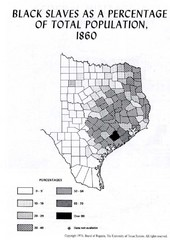 Percentage of Black Slaves in 1860 Texas Map