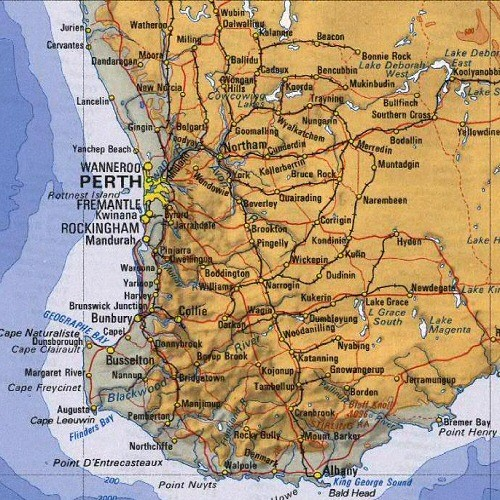 Perth, Australia Region and City Map