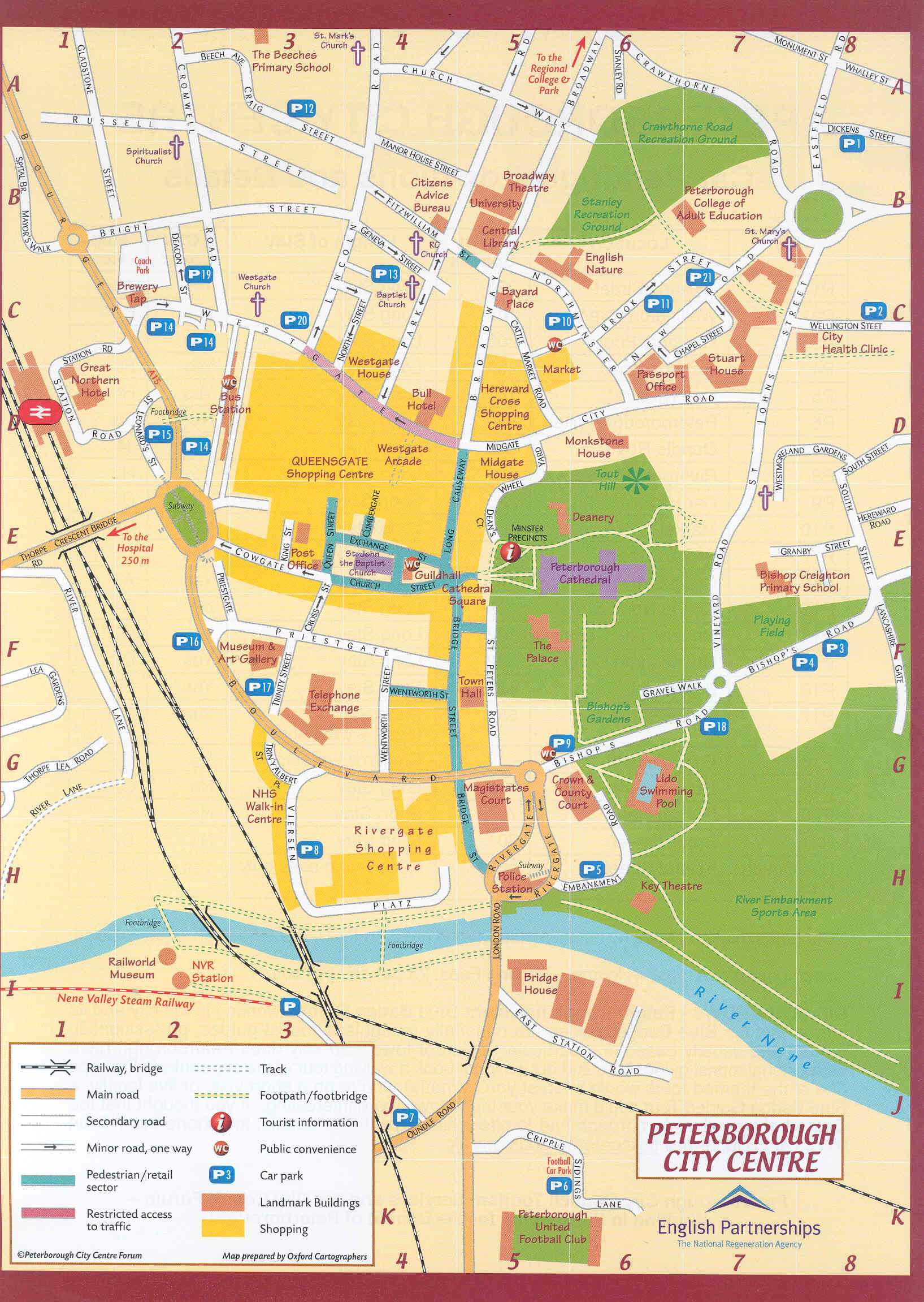 City Map Of England.Peterborough City Center Map Peterborough England Mappery