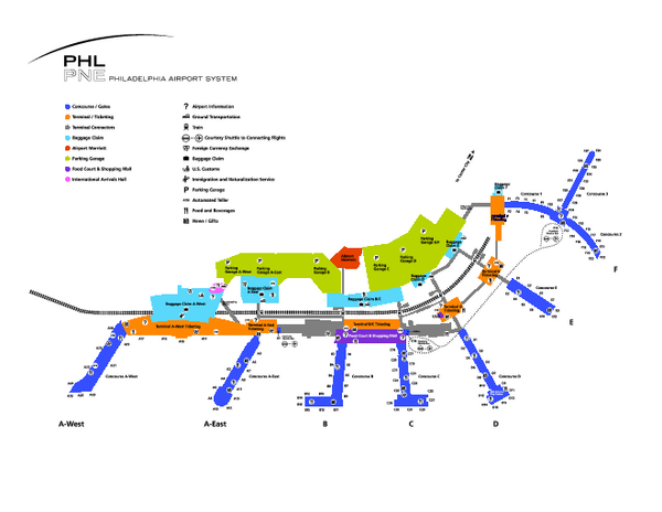 Philadelphia International Airport Terminal Map