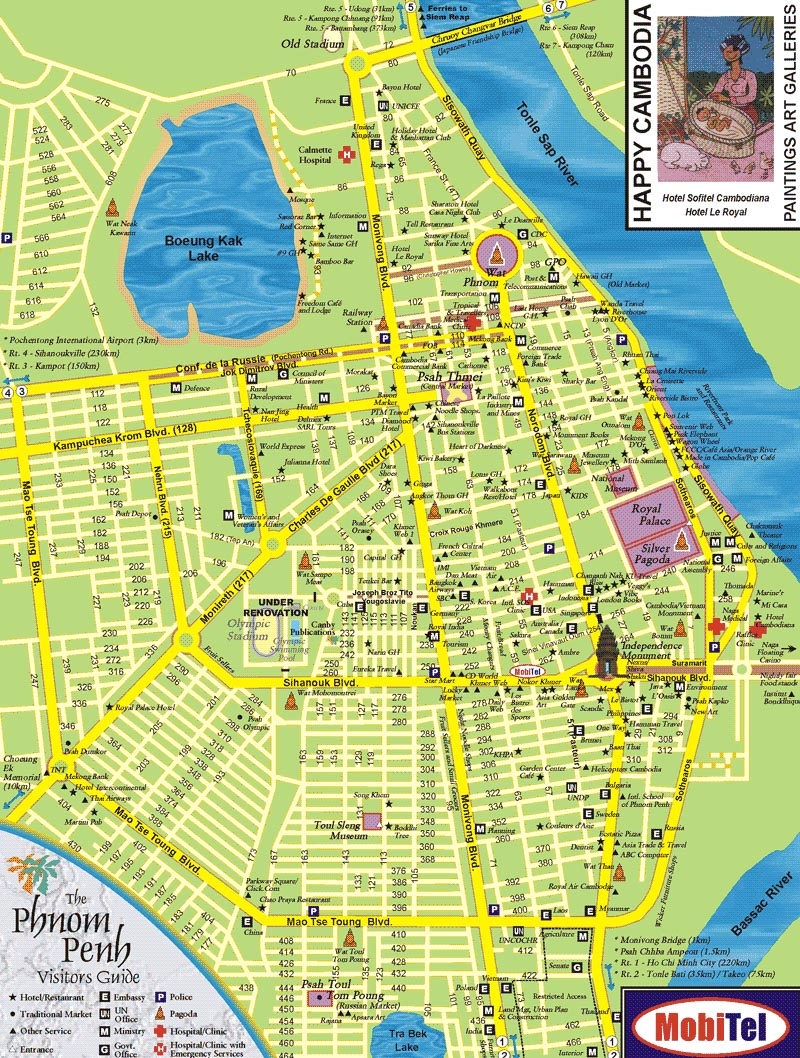 Phnom Penh Tourist Attractions Map – Cambodia Tourist Attractions Map