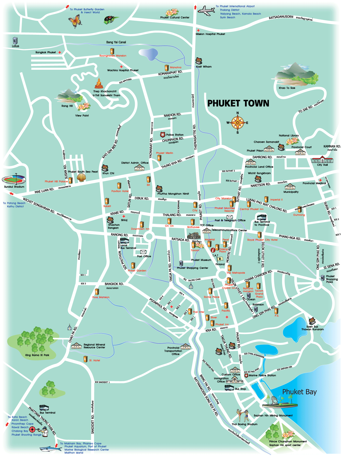 Phuket Town Tourist Map - Phuket Thailand • mappery