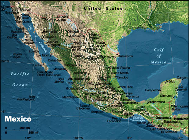 Physical Mexico Map - Mexico • mappery