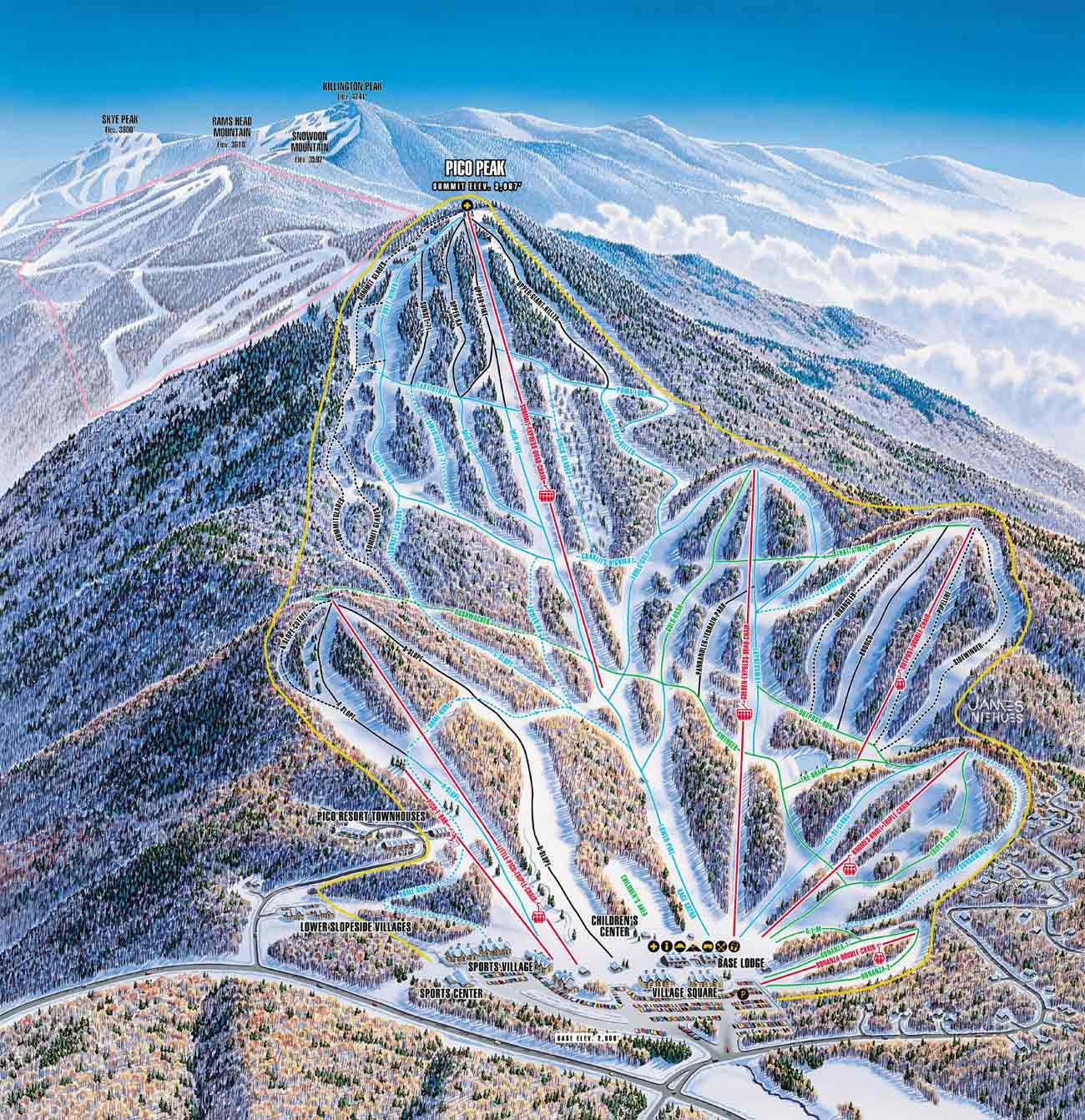 Pico Mountain Ski Trail Map  Killington Vermont  Mappery