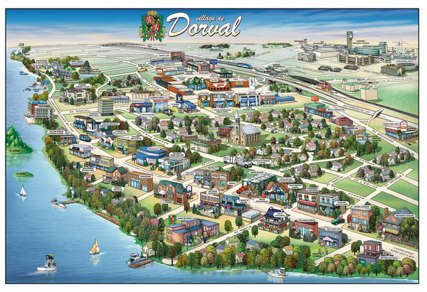Pictorial map of Dorval
