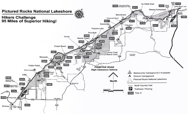 Pictured Rocks Hikers Challange Map