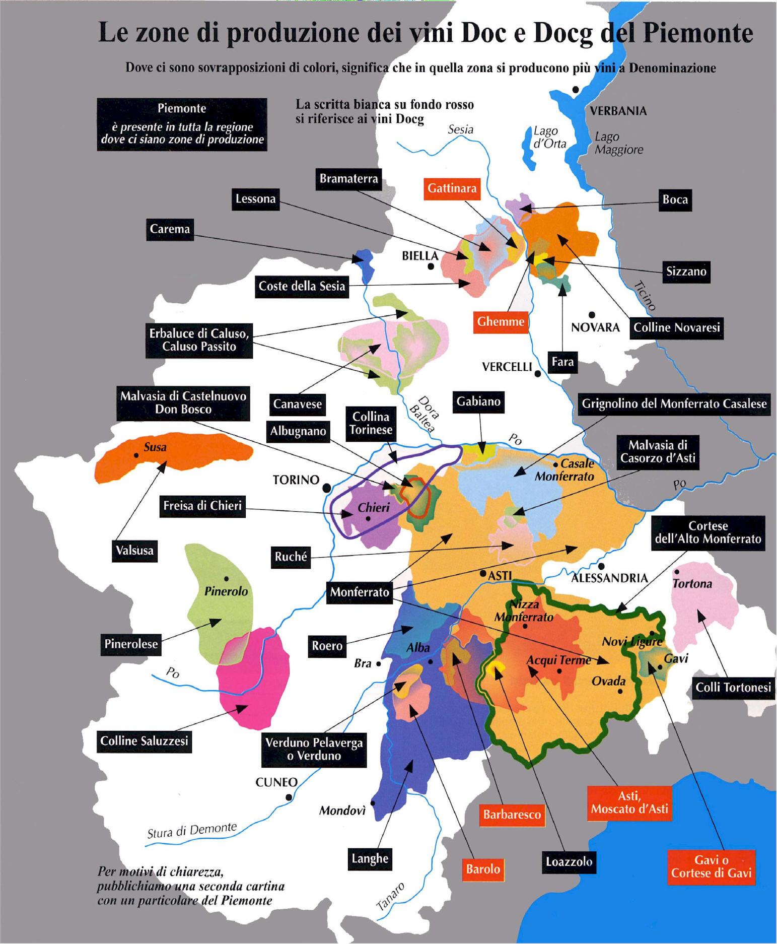 Piedmont Region Wine Map  mappery