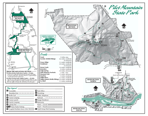 Pilot Mountain State Park map