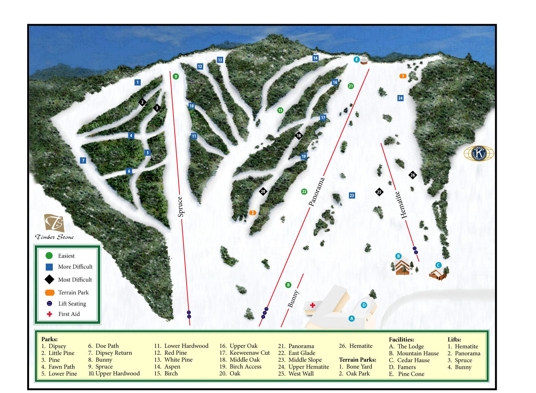 Skiing In Michigan Map.Pine Mountain Resort Ski Trail Map Iron Mountain Michigan United
