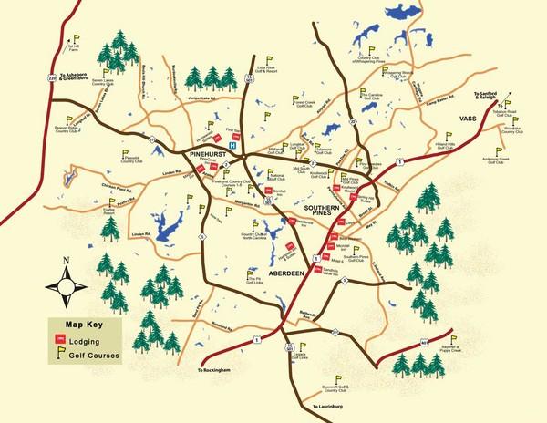 Golf Courses In South Carolina Map.Pinehurst Golf Map Pinehurst North Carolina Mappery