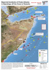 Pirate Attacks off Coast of Somalia Map