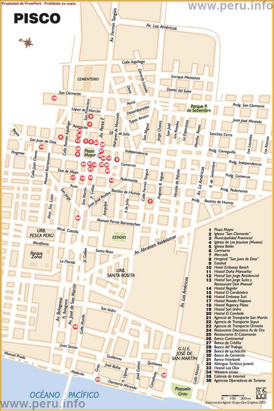 Pisco tourist map pisco peru mappery fullsize pisco tourist map publicscrutiny Choice Image