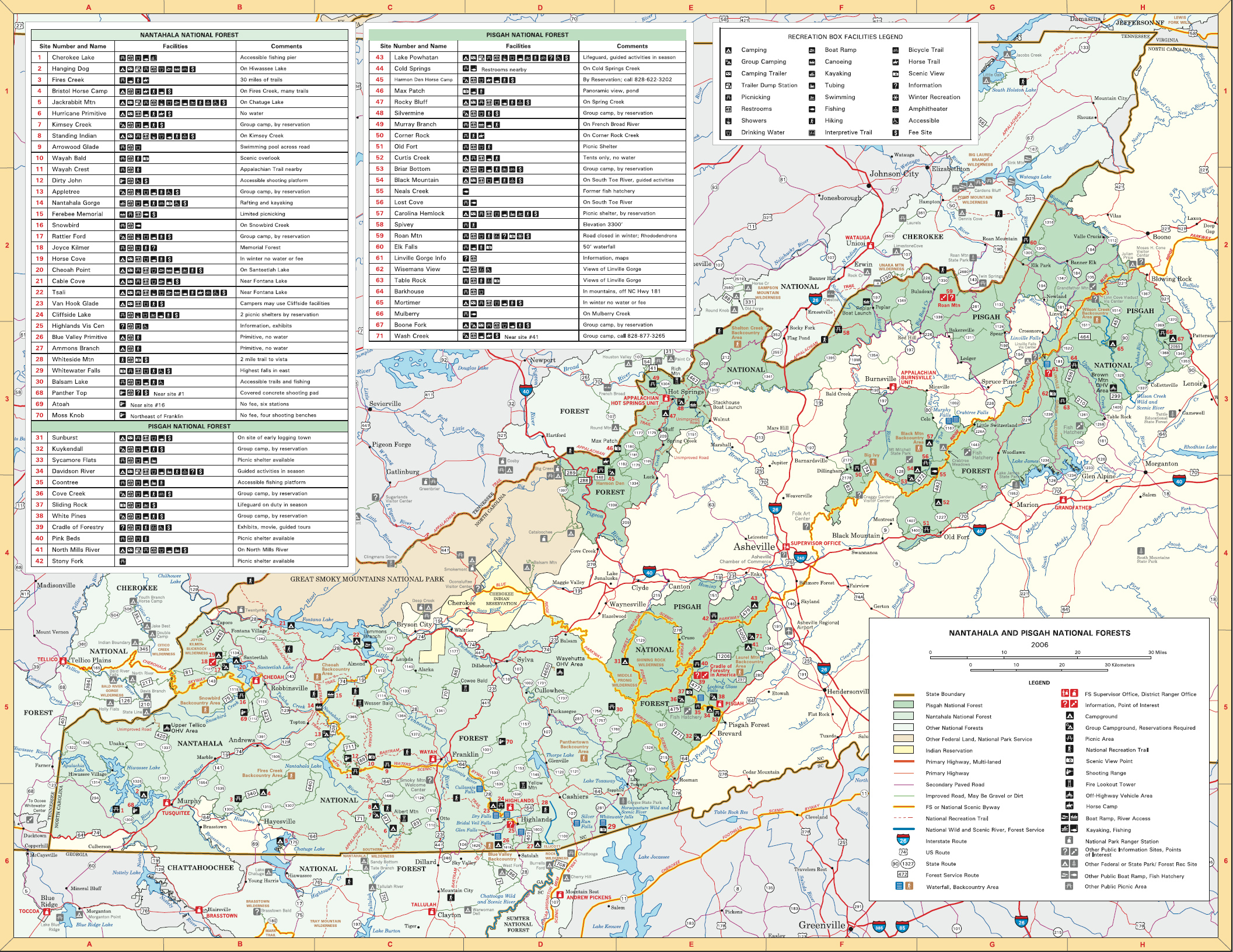 Pisgah National Forest and Nantahala National Forest map ... on