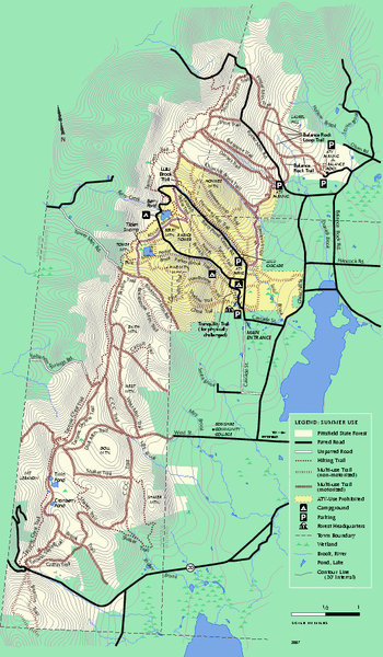 Pittsfield State Forest summer trail map
