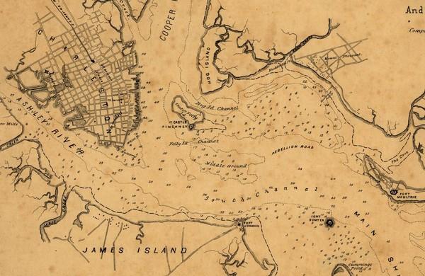 Plan Of Charleston Harbor Civil War Map  Charleston Sc