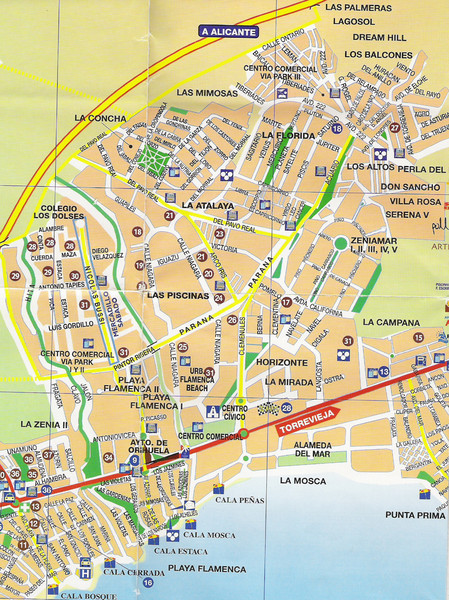 Playa Flamenca Tourist Map Playa Flamenca Spain mappery