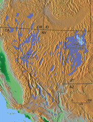 Pleisocene Lakes of western U.S. Map