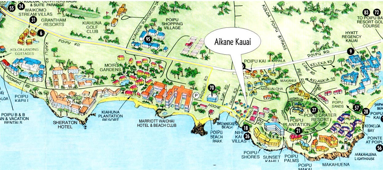 Poipu Beach Tourist Map Poipu mappery – Kauai Tourist Map