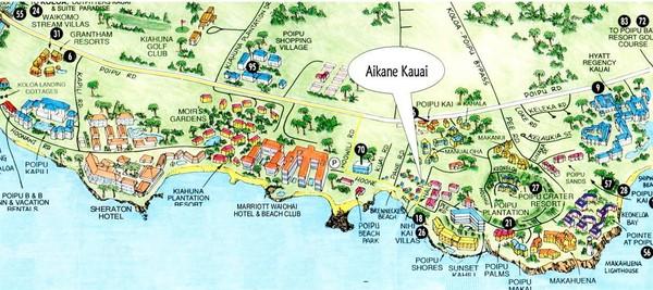 Poipu Beach Tourist Map Mery
