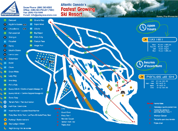 Poley Mountain Ski Trail Map