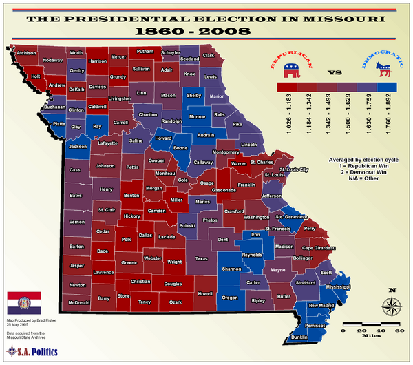 Political Leanings by Missouri County Map