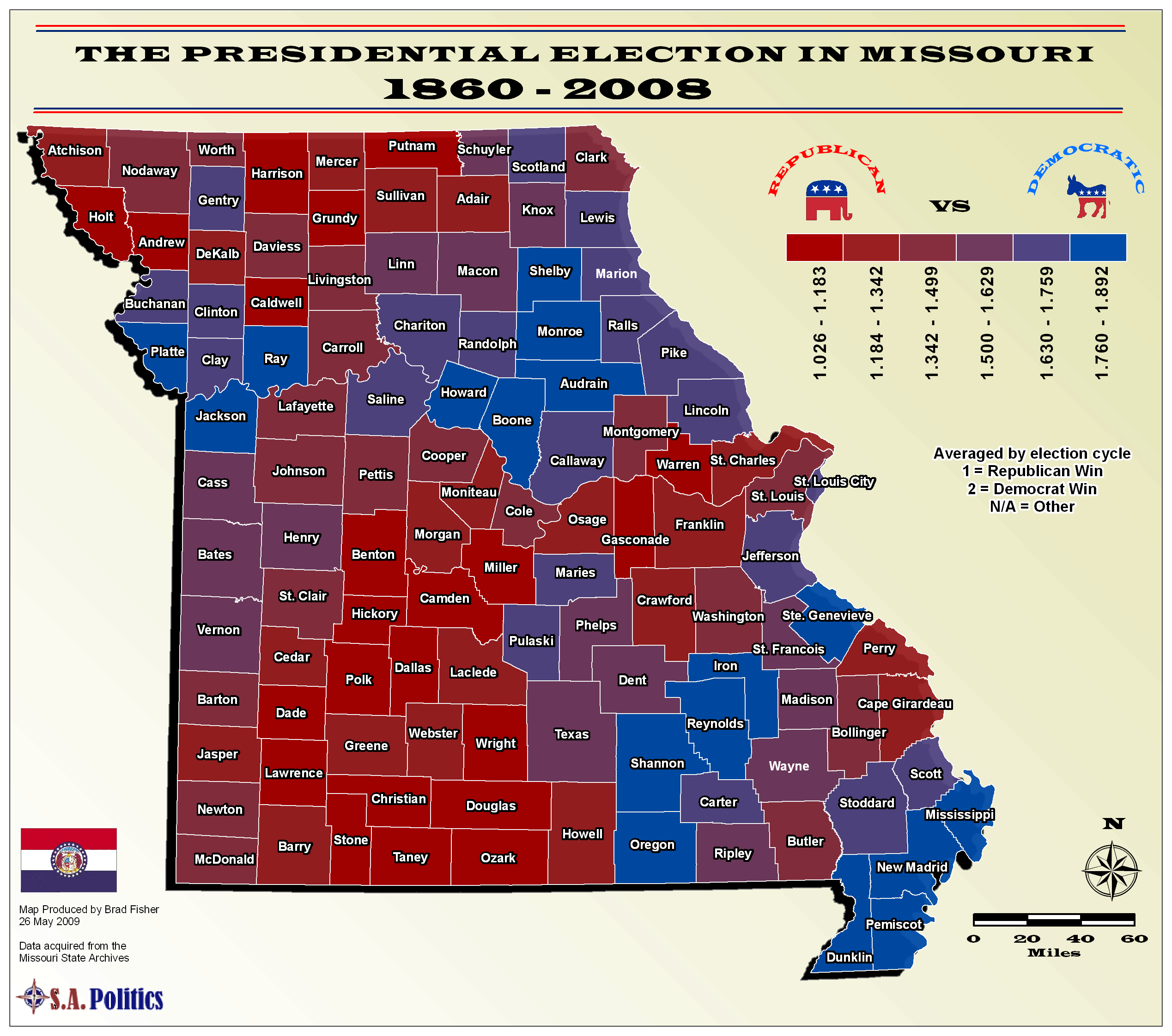 Political Leanings By Missouri County Map Missouri Mappery - Us political map by county