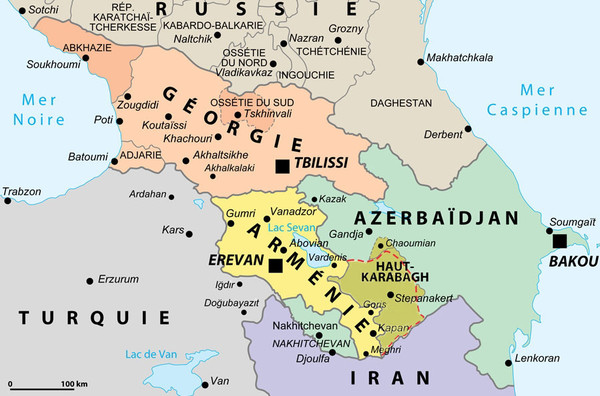 Political Map of the South Caucasus