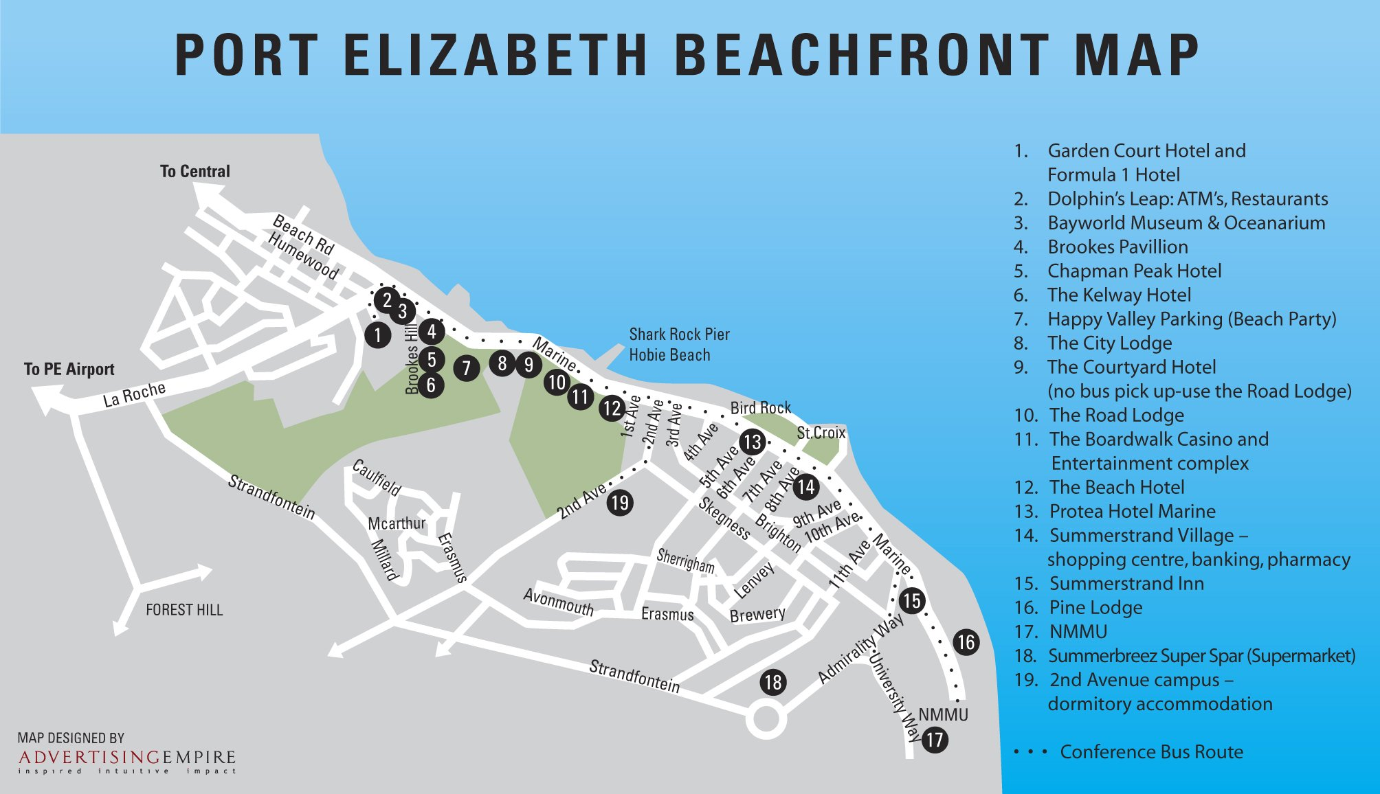 Port Elizabeth Beachfront Map Port Elizabeth South Africa mappery