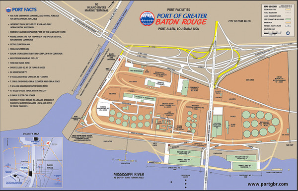 Port of Baton Rouge, Louisiana Tourist Map