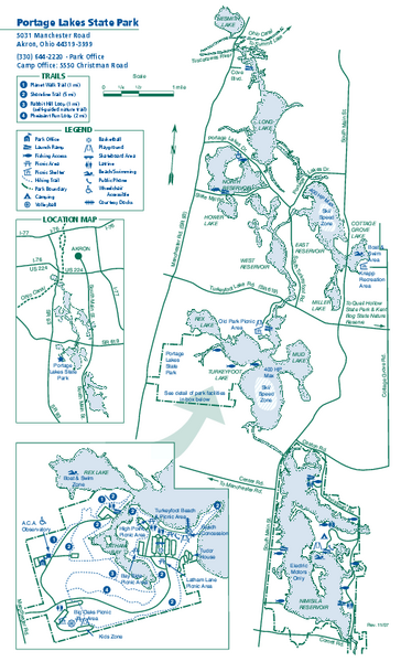 Portage Lakes State Park map