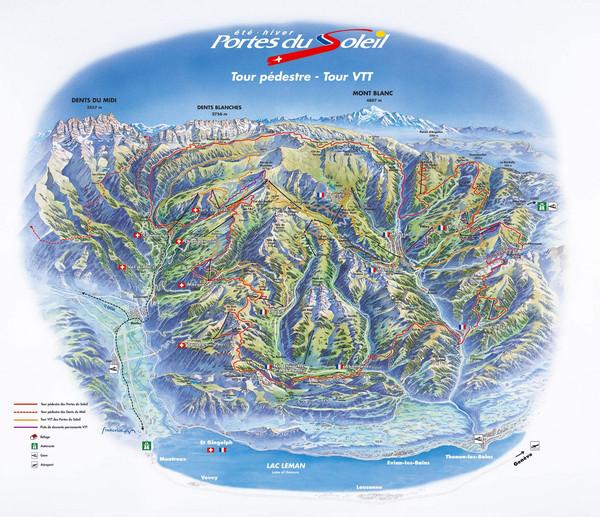 Portes du Soleil Summer Map Morzine France mappery